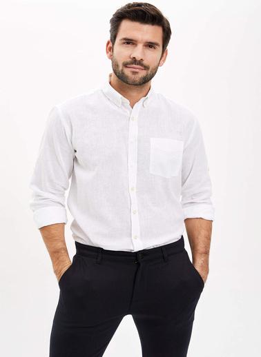 DeFacto Modern Fit Keten Gömlek Beyaz